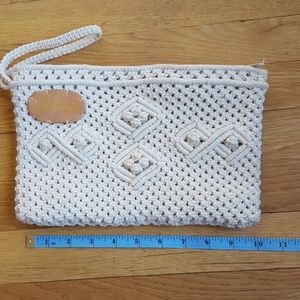 Handbags - Crochet or macrame clutch with wrist band